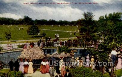 Overlooking Sea Lion Pond - MIlwaukee, Wisconsin WI Postcard