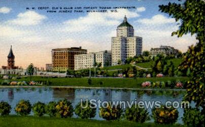 Elk's Club And Cudahy Tower  - MIlwaukee, Wisconsin WI Postcard