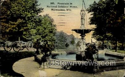 Fountain In National Soldiers' Home - MIlwaukee, Wisconsin WI Postcard