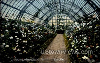 Interior of Conservatory - MIlwaukee, Wisconsin WI Postcard
