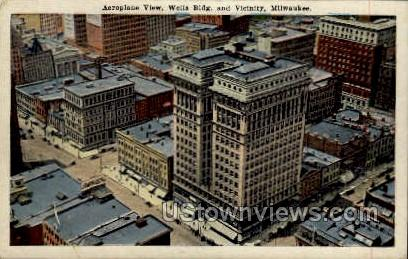 Aeroplane View of Wells Building - MIlwaukee, Wisconsin WI Postcard