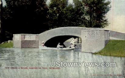 New Concrete Bridge  - MIlwaukee, Wisconsin WI Postcard
