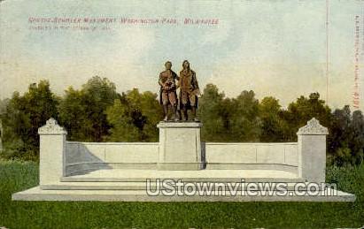 Goethe-Schiller Monument - MIlwaukee, Wisconsin WI Postcard