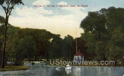 Boating On The Lake  - MIlwaukee, Wisconsin WI Postcard