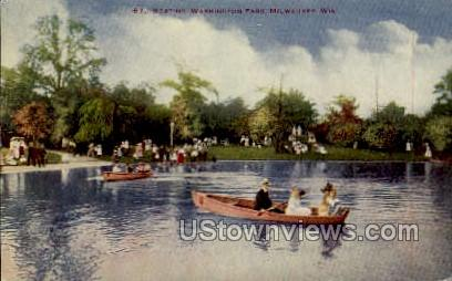 Boating In Washington Park - MIlwaukee, Wisconsin WI Postcard