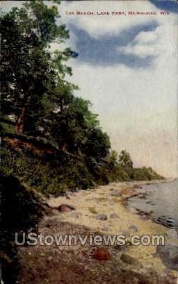 The Beach, Lake Park - MIlwaukee, Wisconsin WI Postcard