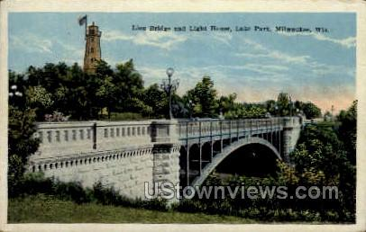 Lion Bridge And Light House - MIlwaukee, Wisconsin WI Postcard