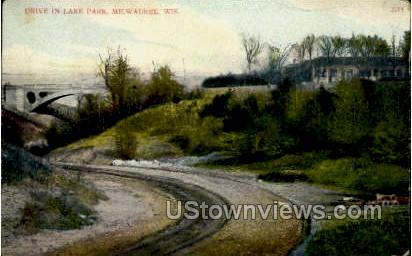Drive In Lake Park - MIlwaukee, Wisconsin WI Postcard