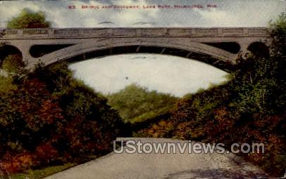 Bridge And Driveway In Lake Park - MIlwaukee, Wisconsin WI Postcard