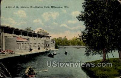 Washington Park Lagoon - MIlwaukee, Wisconsin WI Postcard