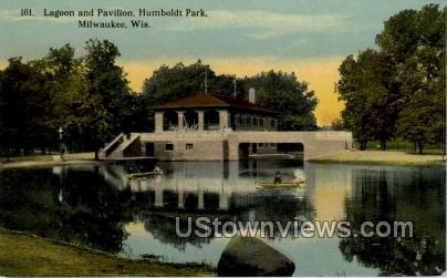 Lagoon And Pavilion - MIlwaukee, Wisconsin WI Postcard