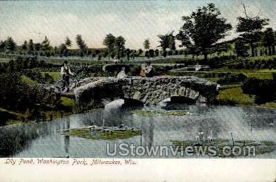Lily Pond in Washington Park - MIlwaukee, Wisconsin WI Postcard