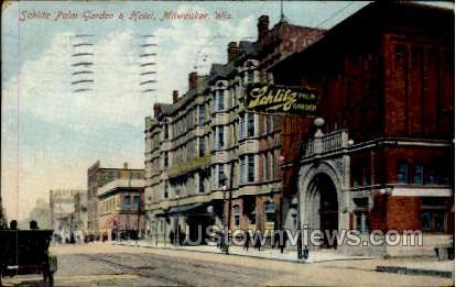Schlitz Palm Garden & Hotel - MIlwaukee, Wisconsin WI Postcard