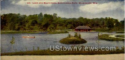 Lake And Boathouse - MIlwaukee, Wisconsin WI Postcard