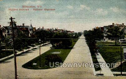 Highland Boulevard - MIlwaukee, Wisconsin WI Postcard