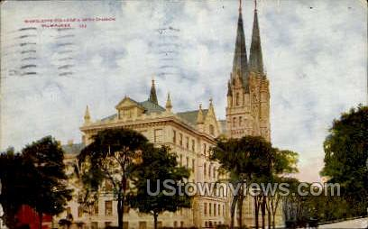Marquette College & Gesu Church - MIlwaukee, Wisconsin WI Postcard