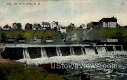 Milwaukee River Dam - Wisconsin WI Postcard