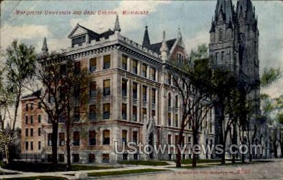 Marquette University & Gesu Church - MIlwaukee, Wisconsin WI Postcard