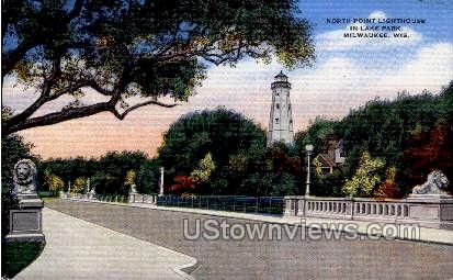 North Point Lighthouse in Lake Park - MIlwaukee, Wisconsin WI Postcard