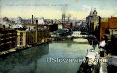 Milwaukee River from Buffalo Street - Wisconsin WI Postcard