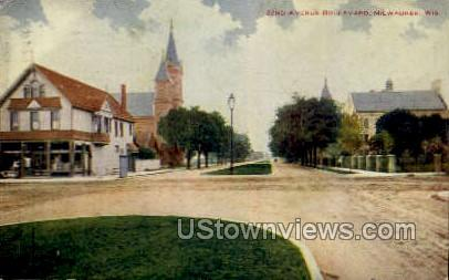 22nd Avenue Boulevard - MIlwaukee, Wisconsin WI Postcard