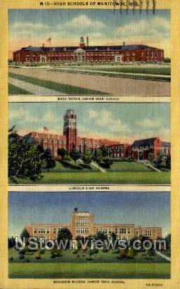 High Schools Of Manitowoc - MIlwaukee, Wisconsin WI Postcard