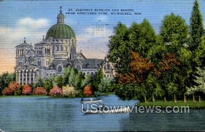 St. Josaphat Basilica and School - MIlwaukee, Wisconsin WI Postcard