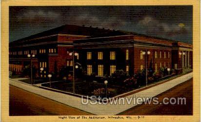 Auditorium at Night - MIlwaukee, Wisconsin WI Postcard