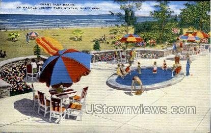Grant Park Beach - MIlwaukee, Wisconsin WI Postcard