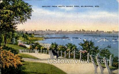 Skyline From South Shore Park - MIlwaukee, Wisconsin WI Postcard