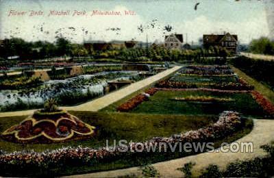 Flower Beds, Mitchell Park - MIlwaukee, Wisconsin WI Postcard
