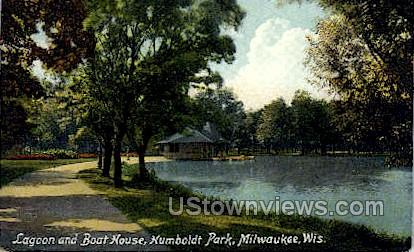 Lagoon And Boat House - MIlwaukee, Wisconsin WI Postcard