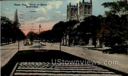 Floral Flag In The Court Of Honor - MIlwaukee, Wisconsin WI Postcard