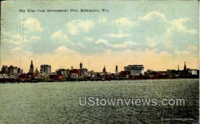 Skyline From Government Pier - MIlwaukee, Wisconsin WI Postcard