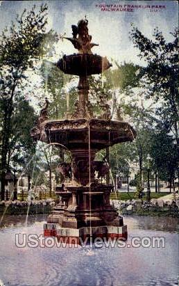 Fountain In Franklin Park - MIlwaukee, Wisconsin WI Postcard