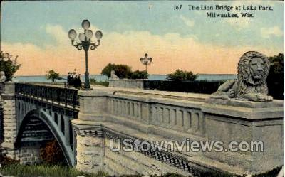 The Lion Bridge At Lake Park - MIlwaukee, Wisconsin WI Postcard