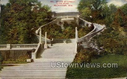 Stone Stairway At Lake Park - MIlwaukee, Wisconsin WI Postcard