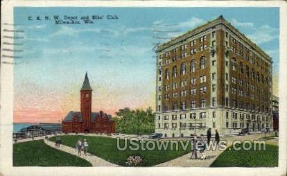 Depot And Elks' Club - MIlwaukee, Wisconsin WI Postcard