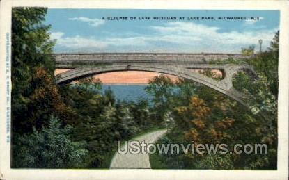 Lake Michigan At Lake Park - MIlwaukee, Wisconsin WI Postcard