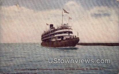 Whaleback Steamer - MIlwaukee, Wisconsin WI Postcard