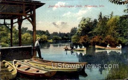 Boating In Washington Park - MIlwaukee, Wisconsin WI Postcard