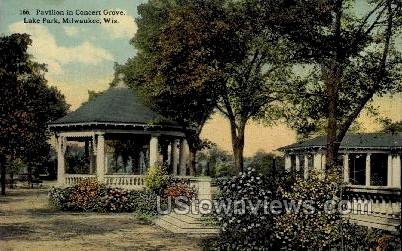 Pavilion in Concert Grove - MIlwaukee, Wisconsin WI Postcard