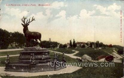 Elk Fountain In Juneau Park - MIlwaukee, Wisconsin WI Postcard