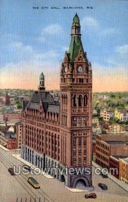 The City Hall - MIlwaukee, Wisconsin WI Postcard