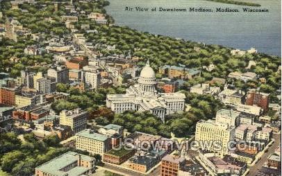 Air View Of Downtown - Madison, Wisconsin WI Postcard
