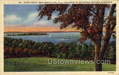 Picnic Point From Observatory Hill - Madison, Wisconsin WI Postcard