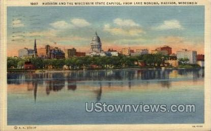 Madison & Wisconsin State Capitol Postcard