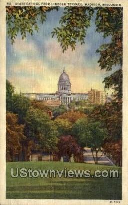 State Capitol From Lincoln Terrace - Madison, Wisconsin WI Postcard