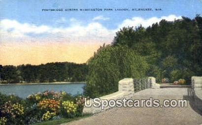 Footbridge across Washington Park Lagoon - MIlwaukee, Wisconsin WI Postcard