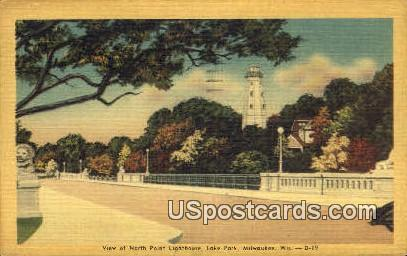 North Point Lighthouse, Lake Park - MIlwaukee, Wisconsin WI Postcard